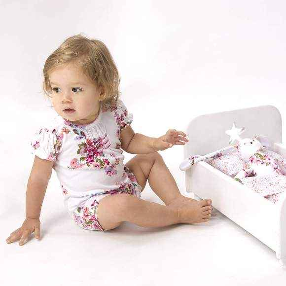 Mia Floral Short Sleeve Baby Girl Romper and Toy Gift Set