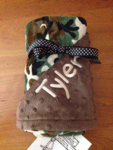Camo Minky Baby Blanket (American Made) (Available Personalized)