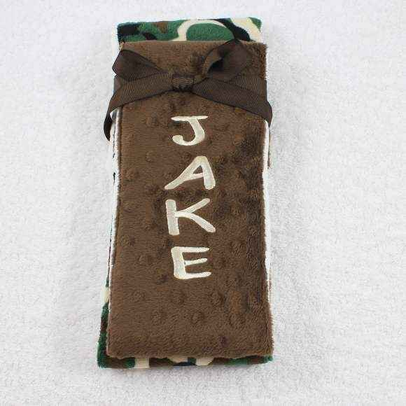 Camo Minky Baby Burp Cloth Set Available Personalized (American Made)
