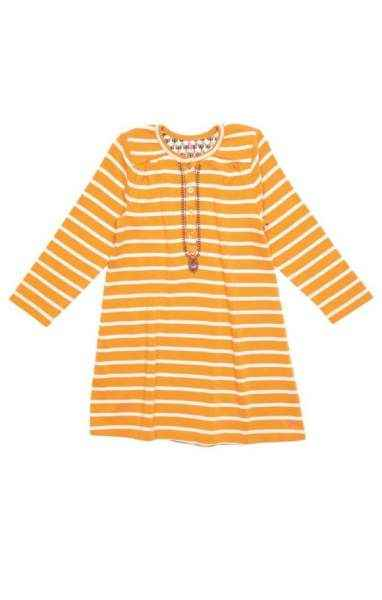 Gold Stripe Long Sleeve Big Girls Dress