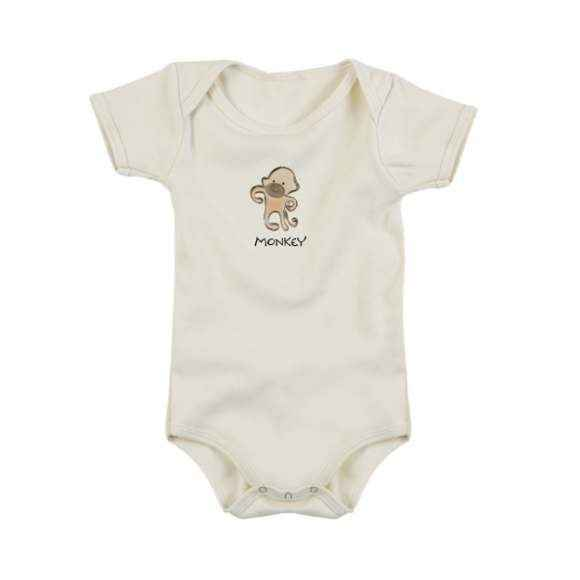 Monkey Short Sleeve Baby Bodysuit (Organic Cotton)