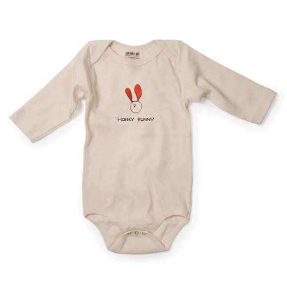Honey Bunny Long Sleeve Baby Bodysuit (Organic Cotton)