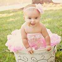 Cream and Pink Infant and Girls Chiffon Tutu Skirt