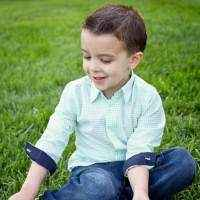 Green Checked Long Sleeve Baby & Boys Button Down Shirt with Navy Contrasting Cuffs