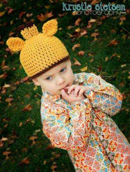 Giraffe Crocheted Toddler Boy and Girl Hat (American Made)