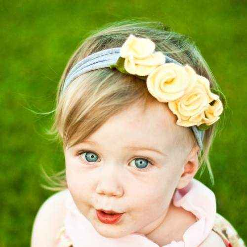 Lemon Cream Girls Soft Flower Headband (American Made)