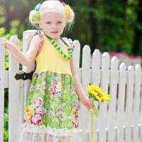 Sunshine Flutter Sleeve Vintage Style Big Girls Dress (American Made)