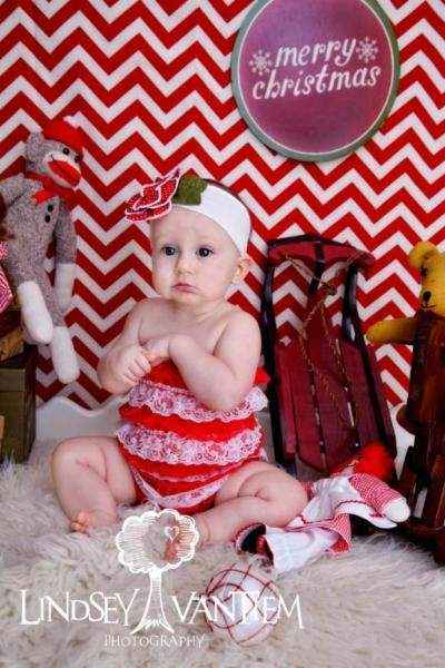 Candy Cane Lace Ruffle Little Girls Christmas Holiday Petti Romper
