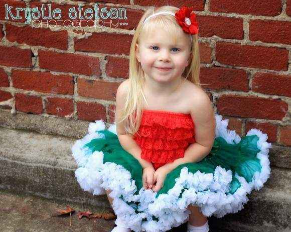 Christmas Green Holiday Chiffon Girls Boutique Pettiskirt