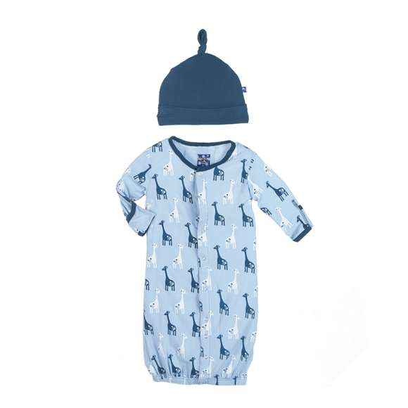 Giraffe Print Blue Converter Long Sleeve Baby Boy Gown/Romper & Hat Outfit Set (Organic Bamboo)