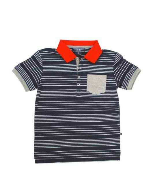 Navy Striped Short Sleeve Big Boys Polo Shirt