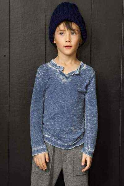 Blue Henley Long Sleeve Big Boys Trendy Shirt (American Made)