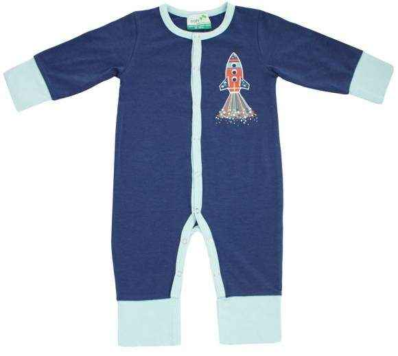 Navy Rocket Long Sleeve Baby Boy Jumpsuit (Organic Cotton and Bamboo)