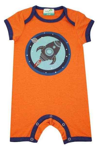 Orange Rocket Short Sleeve Baby Romper & Pajamas (Organic Cotton & Bamboo)