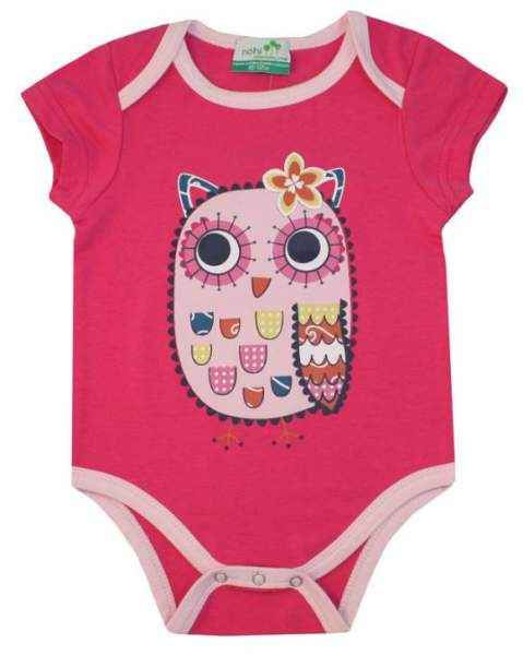 Pink Owl Short Sleeve Baby Girl Bodysuit (Organic Cotton and Bamboo)