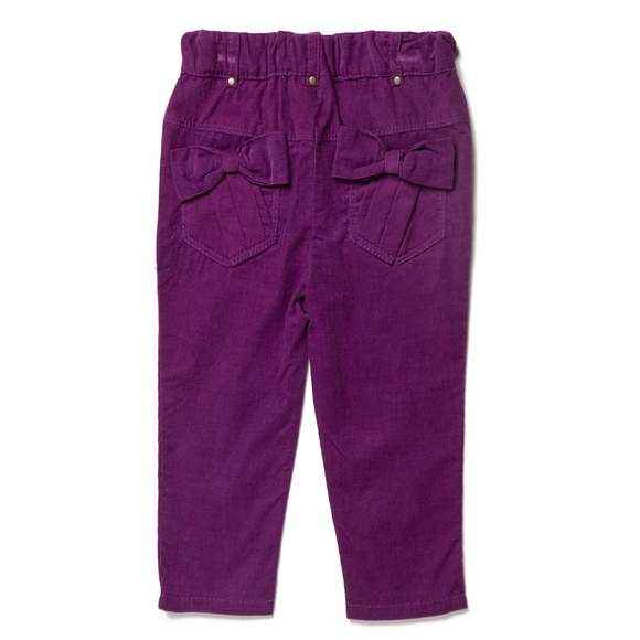 Wine Bow Baby Girl Corduroy Pants