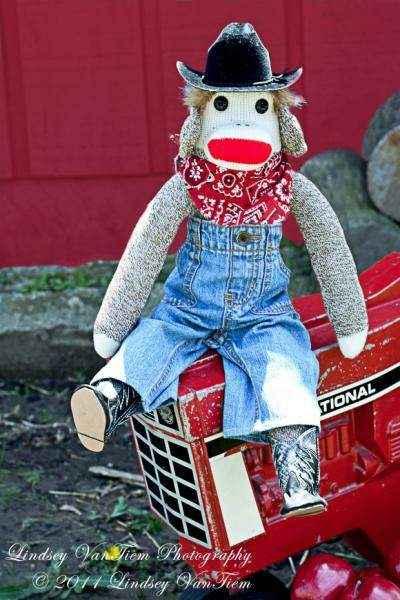 Cowboy Sock Monkey Doll Stuffed Toy (American Made)