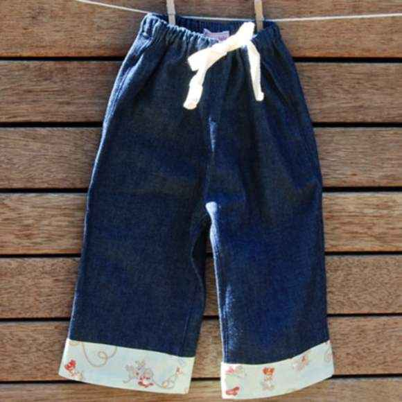 Baby & Toddler Boys Denim Jean Boutique Pants with Cowboy Print Fabric Accents