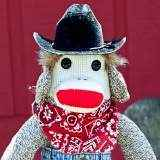 Cowboy Sock Monkey Doll Stuffed Toy (American Made)