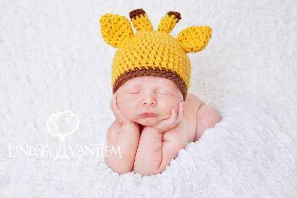 Giraffe Baby Girl and Baby Boy Crocheted Hat (American Made)