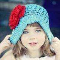 Joy Crocheted Boutique Girl Flower Hat in Blue