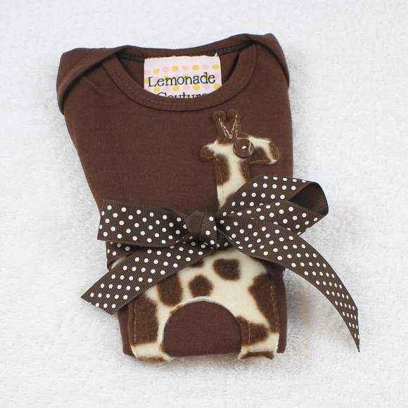 Giraffe Short Sleeve Baby Bodysuit