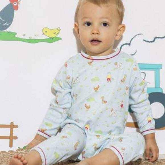 Farm Print Blue Long Sleeve Baby Boy Jumpsuit & Pajamas