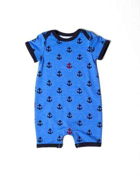 Anchor Print Short Sleeve Blue Baby Boy Romper and Pajamas