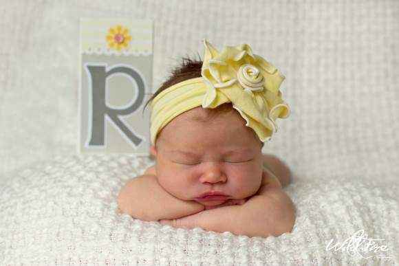 Lemon Chiffon Baby and Girls Flower Headband (American Made)