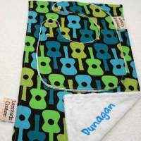 Guitar Print Minky Baby Bib & Burp Cloth Gift Set (American Made) (Available Embroidered with a Name)