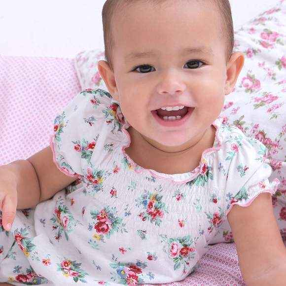 Hannah Short Sleeve Floral Baby Girl Romper and One Piece Pajamas