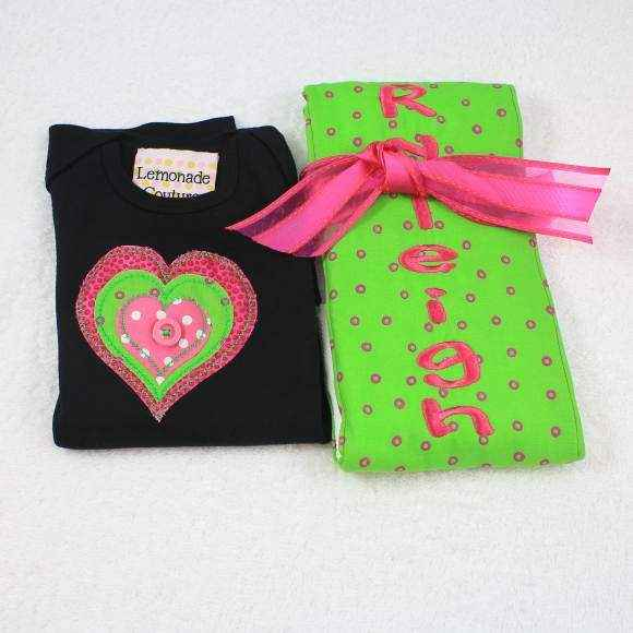 Heart Short Sleeve Baby Girl Bodysuit and Burp Cloth Gift Set