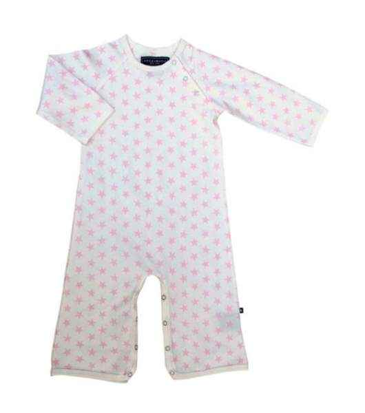 Pink Star Print Long Sleeve Baby Girl Jumpsuit and One Piece Pajamas