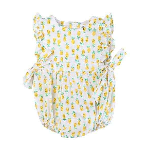 Pineapple Print Sleeveless Baby Girl Romper