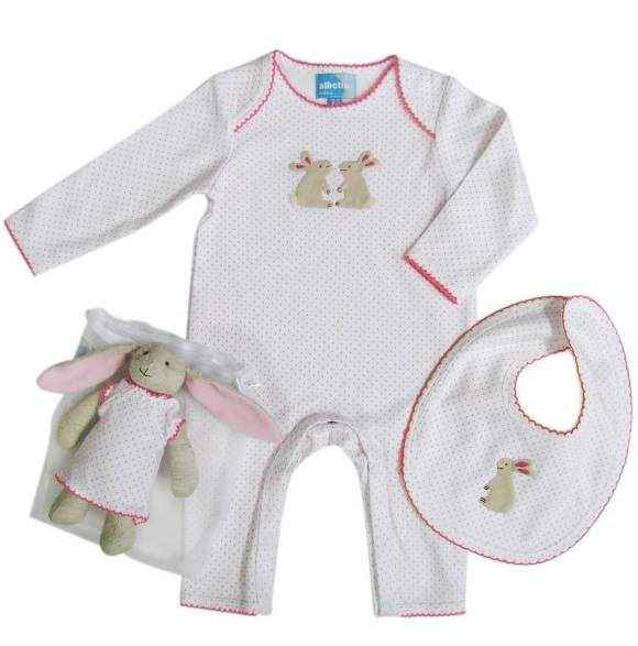 Pink Bunny Long Sleeve Baby Jumpsuit, Bib and Toy Gift Set
