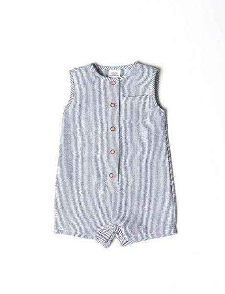 Blue Seersucker Sleeveless Baby Boy Romper