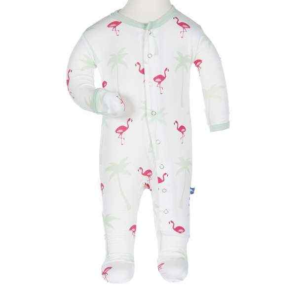 Flamingo Print Long Sleeve Footie Romper One Piece PJs (Organic Bamboo)