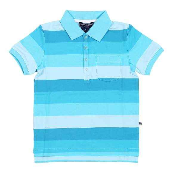 Smith Blue Striped Short Sleeve Baby and Boys Polo Shirt