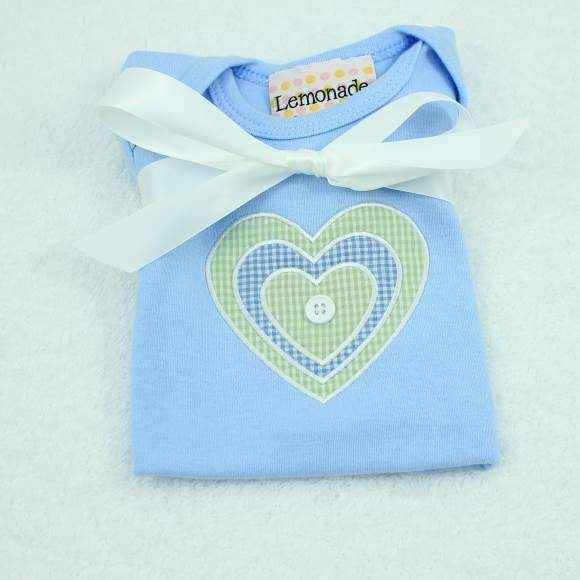 Blue Heart Short Sleeve Baby Boy Bodysuit