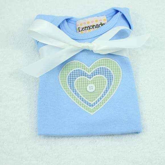 Blue Heart Short Sleeve Baby Boy Bodysuit
