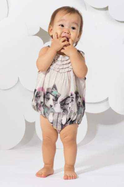 Puppies Frilled Baby and Toddler Girls Romper