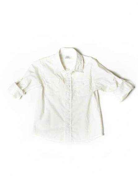 White Cotton Solid Long Sleeve Roll Sleeve Baby and Boys Camp Button Down Shirt
