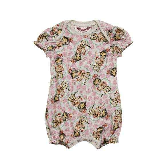 Lollipop Kitty Print Short Sleeve Baby Girl Romper & One Piece Pajamas (Organic Cotton)