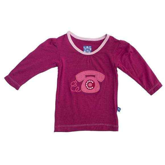 Telephone Long Sleeve Baby Girl Tee (Organic Bamboo)