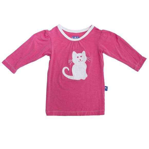 Kitty Cat Long Sleeve Pink Baby Girl Tee (Organic Bamboo)