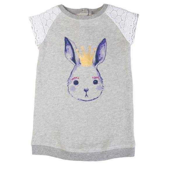 Bunny Princess French Terry Baby and Little Girls Dress