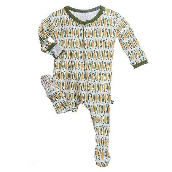 Veggies Print Long Sleeve Baby Footie Romper and One Piece Pajamas (Organic Bamboo)