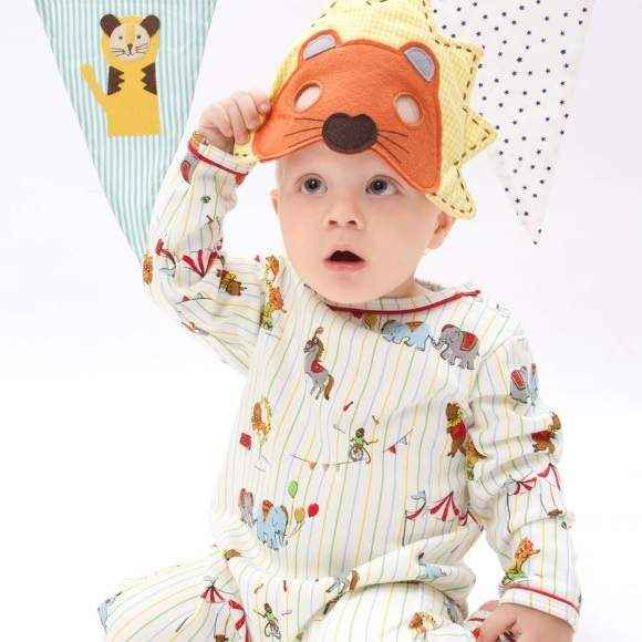 Circus Print Long Sleeve Baby Jumpsuit and Pajamas