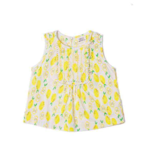 Pineapple Print Sleeveless Little Girls Blouse