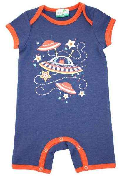 Martian Blue Short Sleeve Baby Romper and Pajamas (Organic Cotton and Bamboo)